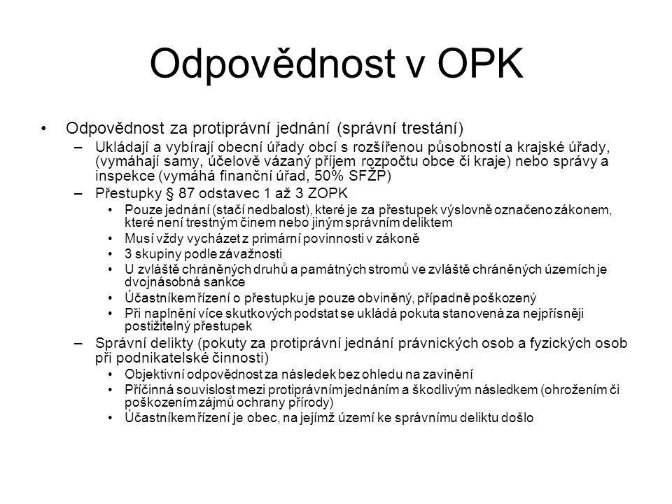 Odpovědnost v OPK Odpovědnost za protiprávní jednání (správní trestání)