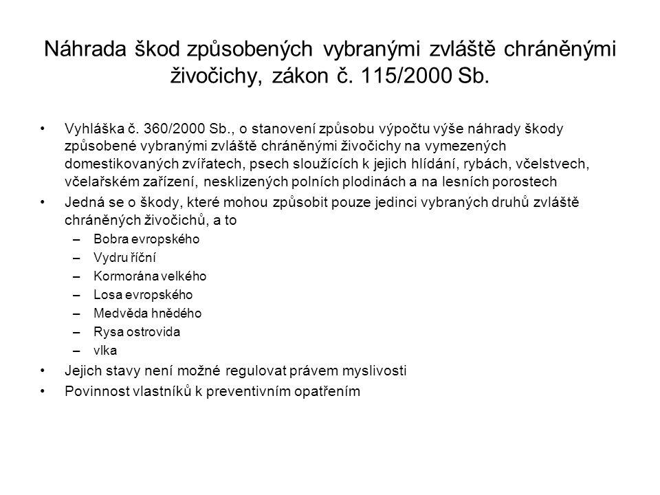 Náhrada škod způsobených vybranými zvláště chráněnými živočichy, zákon č. 115/2000 Sb.