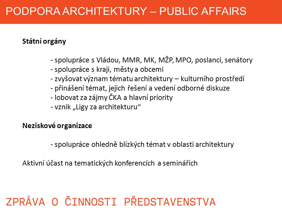 PODPORA ARCHITEKTURY – PUBLIC AFFAIRS
