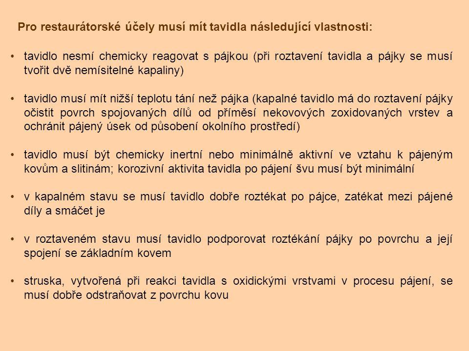 Pro restaurátorské účely musí mít tavidla následující vlastnosti: