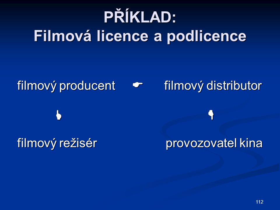 PŘÍKLAD: Filmová licence a podlicence