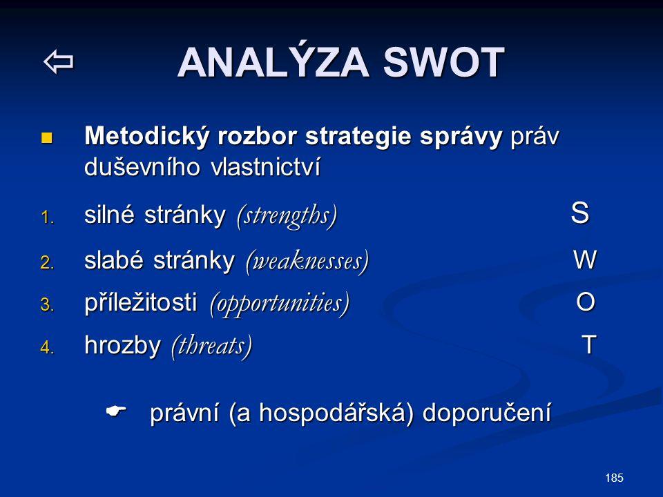 ANALÝZA SWOT Metodický rozbor strategie správy práv duševního vlastnictví. silné stránky (strengths) S.