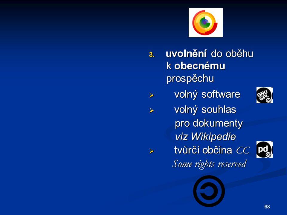 uvolnění do oběhu k obecnému. prospěchu. volný software. volný souhlas. pro dokumenty. viz Wikipedie.
