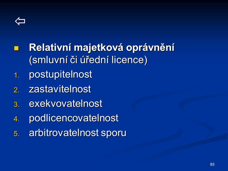  Relativní majetková oprávnění (smluvní či úřední licence)