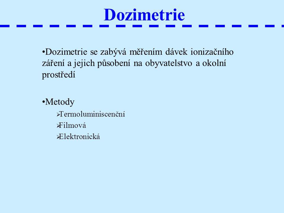 Dozimetrie Dozimetrie se zabývá měřením dávek ionizačního záření a jejich působení na obyvatelstvo a okolní prostředí.