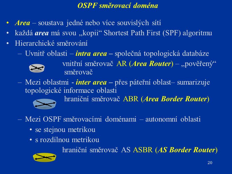 """OSPF směrovací doména Area – soustava jedné nebo více souvislých sítí. každá area má svou """"kopii Shortest Path First (SPF) algoritmu."""