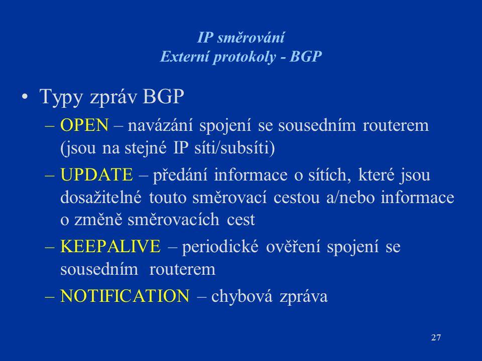 IP směrování Externí protokoly - BGP