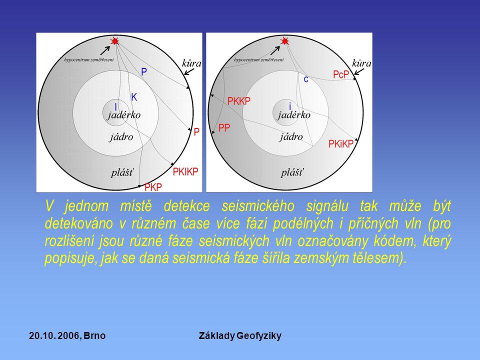 V jednom místě detekce seismického signálu tak může být detekováno v různém čase více fází podélných i příčných vln (pro rozlišení jsou různé fáze seismických vln označovány kódem, který popisuje, jak se daná seismická fáze šířila zemským tělesem).