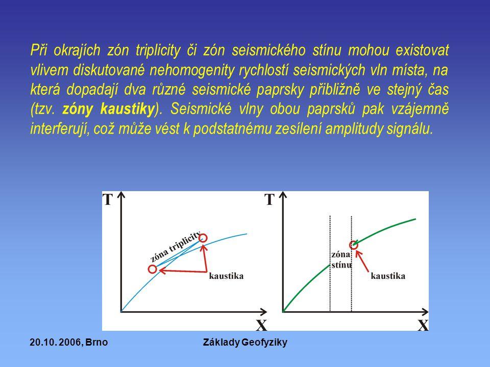 Při okrajích zón triplicity či zón seismického stínu mohou existovat vlivem diskutované nehomogenity rychlostí seismických vln místa, na která dopadají dva různé seismické paprsky přibližně ve stejný čas (tzv. zóny kaustiky). Seismické vlny obou paprsků pak vzájemně interferují, což může vést k podstatnému zesílení amplitudy signálu.