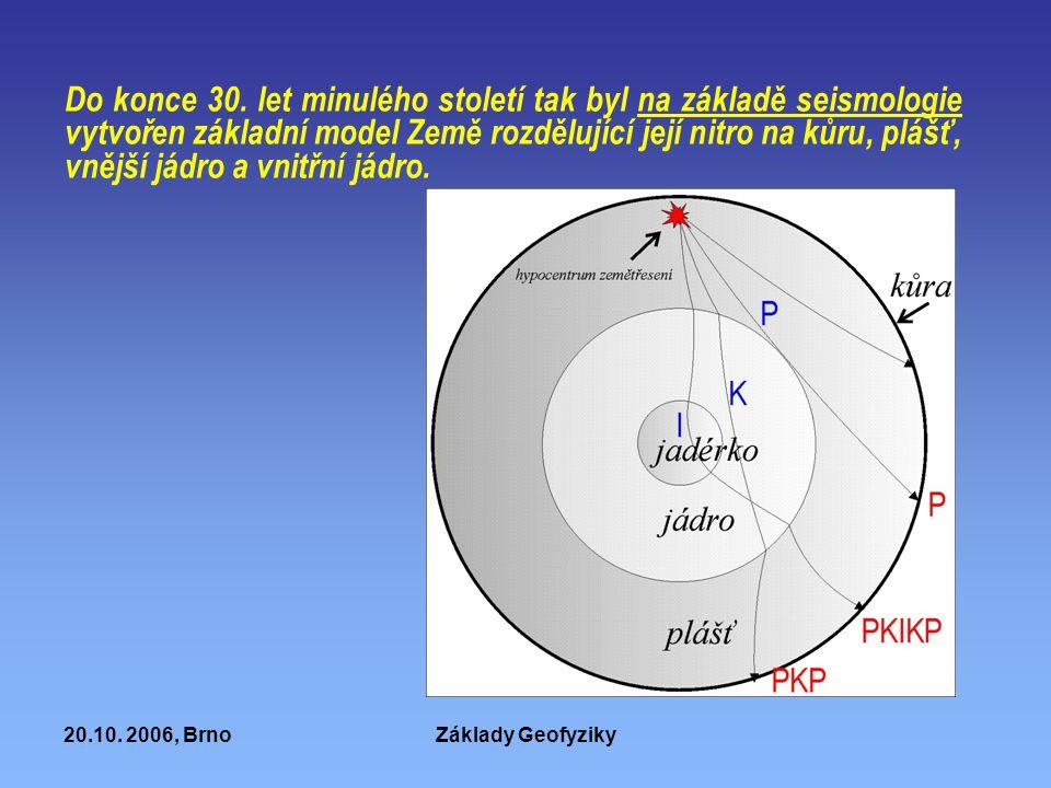 Do konce 30. let minulého století tak byl na základě seismologie vytvořen základní model Země rozdělující její nitro na kůru, plášť, vnější jádro a vnitřní jádro.