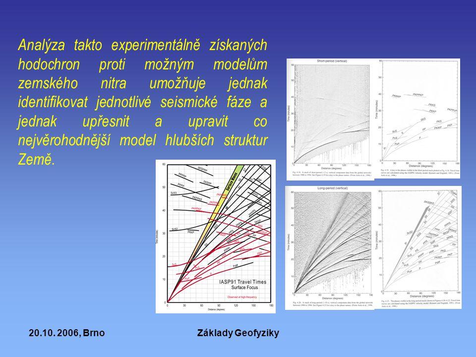 Analýza takto experimentálně získaných hodochron proti možným modelům zemského nitra umožňuje jednak identifikovat jednotlivé seismické fáze a jednak upřesnit a upravit co nejvěrohodnější model hlubších struktur Země.