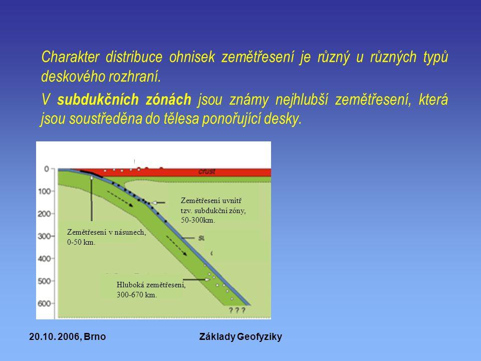 Charakter distribuce ohnisek zemětřesení je různý u různých typů deskového rozhraní.