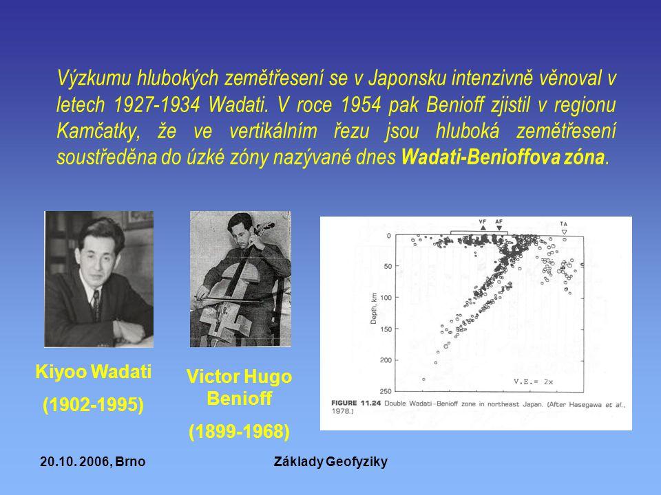 Výzkumu hlubokých zemětřesení se v Japonsku intenzivně věnoval v letech 1927-1934 Wadati. V roce 1954 pak Benioff zjistil v regionu Kamčatky, že ve vertikálním řezu jsou hluboká zemětřesení soustředěna do úzké zóny nazývané dnes Wadati-Benioffova zóna.