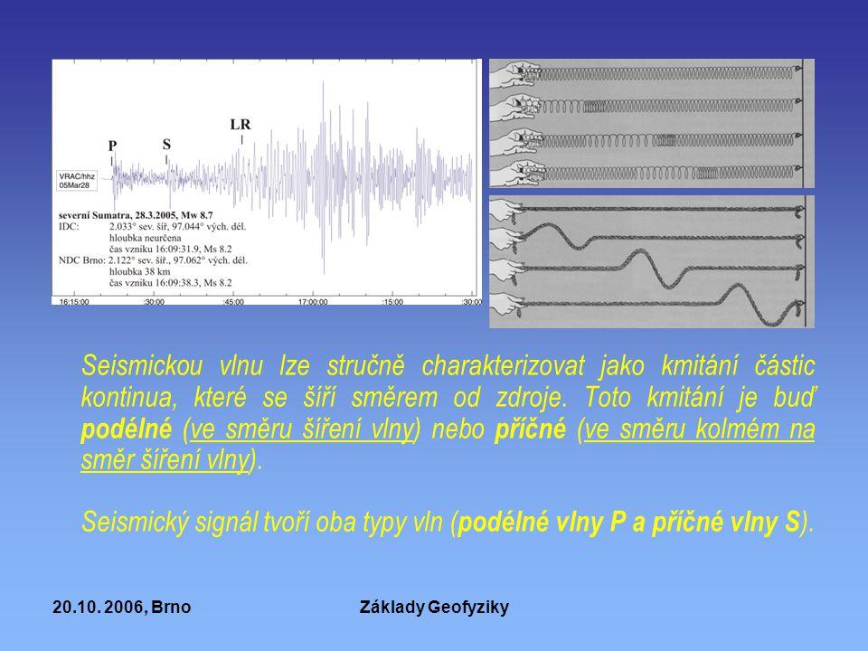 Seismický signál tvoří oba typy vln (podélné vlny P a příčné vlny S).