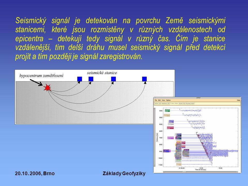 Seismický signál je detekován na povrchu Země seismickými stanicemi, které jsou rozmístěny v různých vzdálenostech od epicentra – detekují tedy signál v různý čas. Čím je stanice vzdálenější, tím delší dráhu musel seismický signál před detekcí projít a tím později je signál zaregistrován.