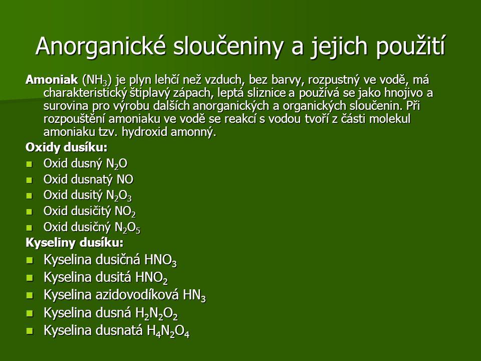 Anorganické sloučeniny a jejich použití