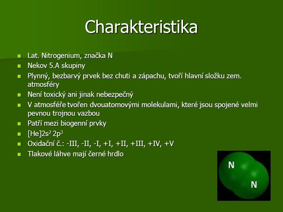Charakteristika Lat. Nitrogenium, značka N Nekov 5.A skupiny