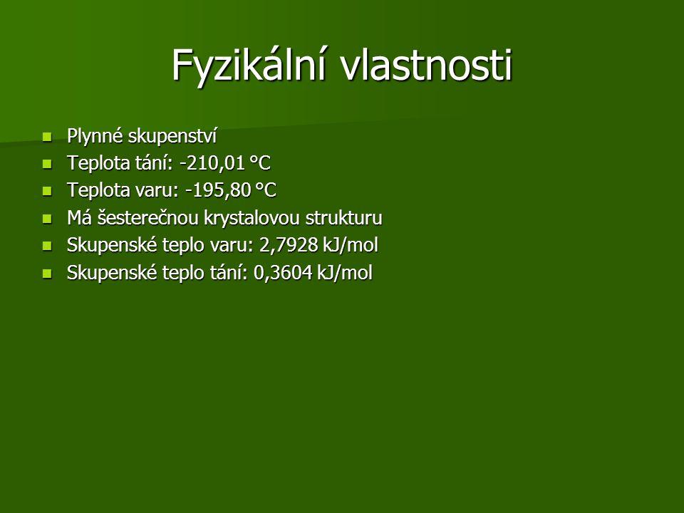 Fyzikální vlastnosti Plynné skupenství Teplota tání: -210,01 °C