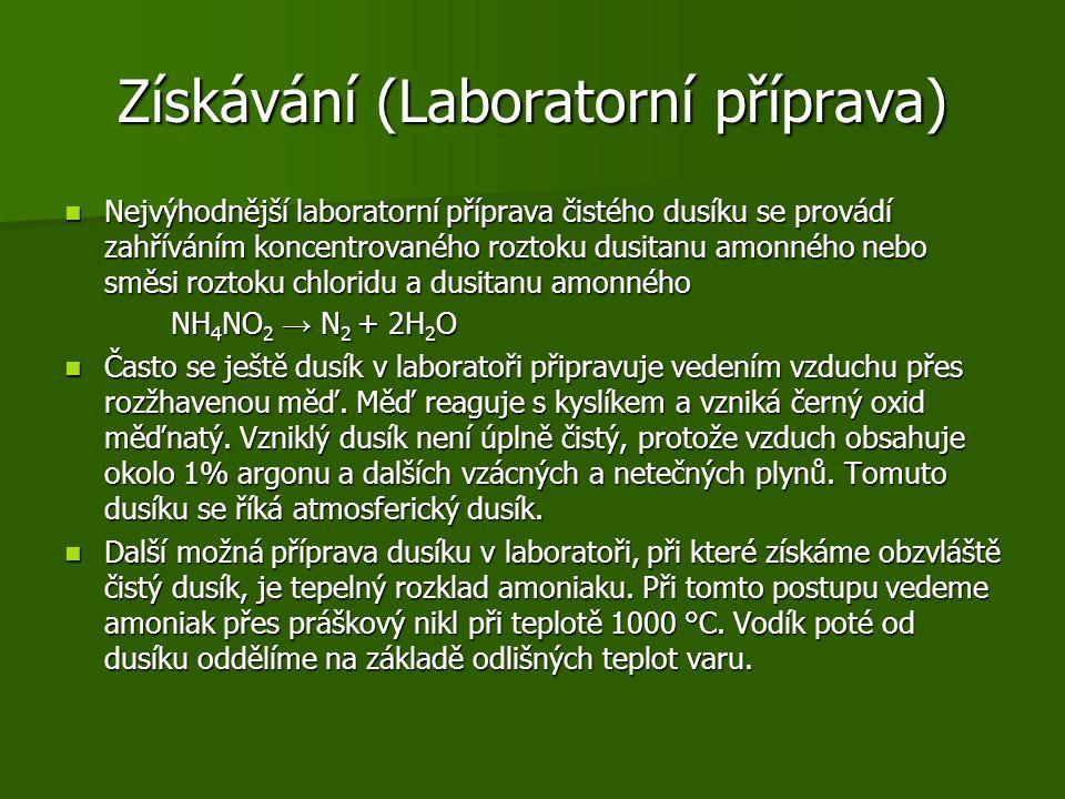Získávání (Laboratorní příprava)