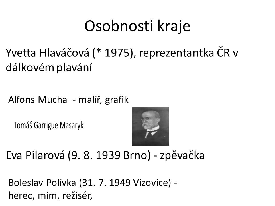 Osobnosti kraje Yvetta Hlaváčová (* 1975), reprezentantka ČR v dálkovém plavání Eva Pilarová (9. 8. 1939 Brno) - zpěvačka