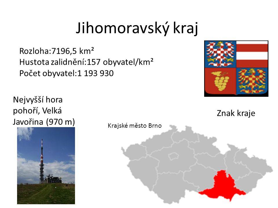 Jihomoravský kraj Rozloha:7196,5 km²