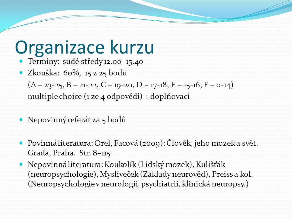Organizace kurzu Termíny: sudé středy 12.00–15.40