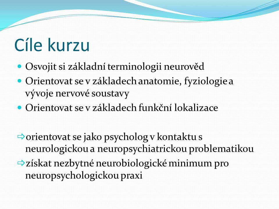 Cíle kurzu Osvojit si základní terminologii neurověd