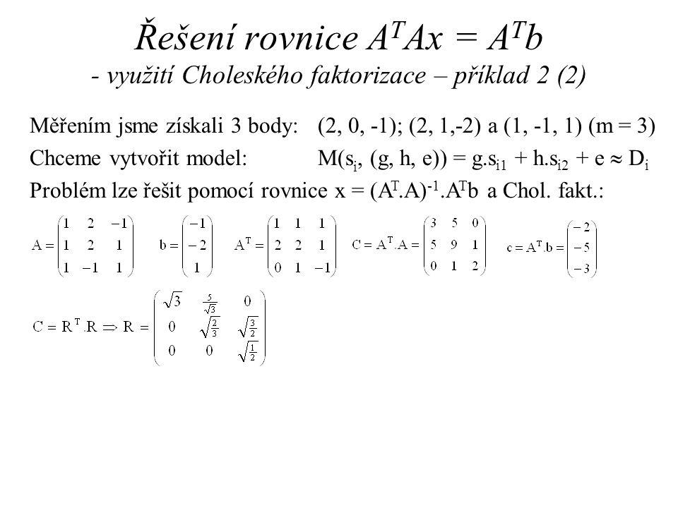 Řešení rovnice ATAx = ATb - využití Choleského faktorizace – příklad 2 (2)