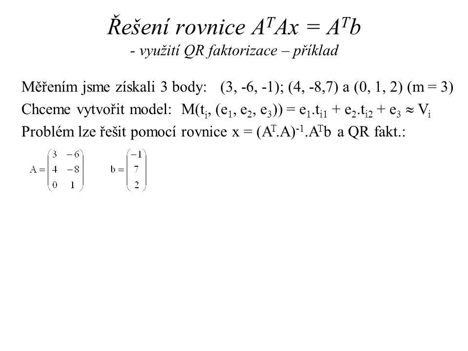 Řešení rovnice ATAx = ATb - využití QR faktorizace – příklad