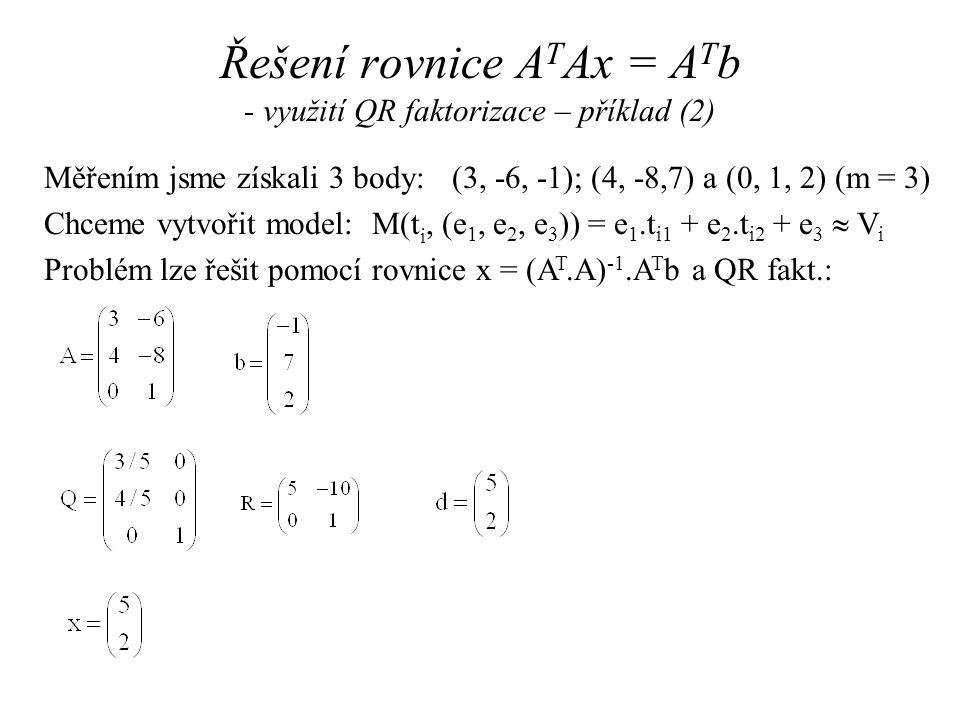 Řešení rovnice ATAx = ATb - využití QR faktorizace – příklad (2)