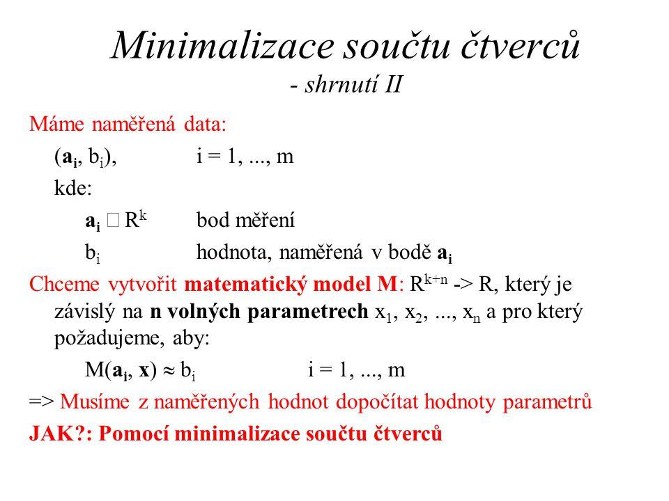 Minimalizace součtu čtverců - shrnutí II