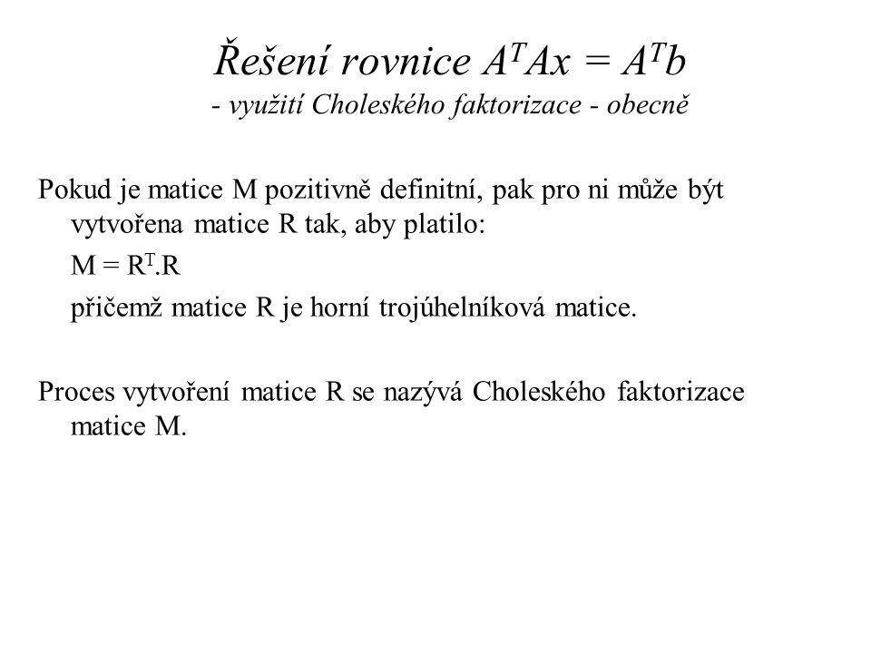Řešení rovnice ATAx = ATb - využití Choleského faktorizace - obecně