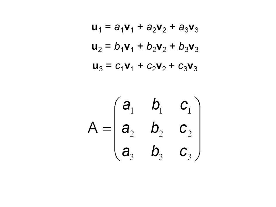 u1 = a1v1 + a2v2 + a3v3 u2 = b1v1 + b2v2 + b3v3 u3 = c1v1 + c2v2 + c3v3