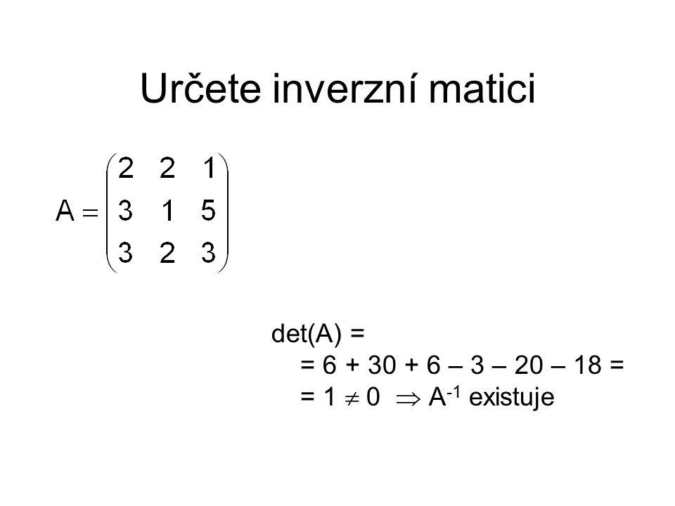 Určete inverzní matici