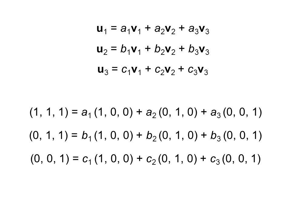 u1 = a1v1 + a2v2 + a3v3 u2 = b1v1 + b2v2 + b3v3. u3 = c1v1 + c2v2 + c3v3. (1, 1, 1) = a1 (1, 0, 0) + a2 (0, 1, 0) + a3 (0, 0, 1)