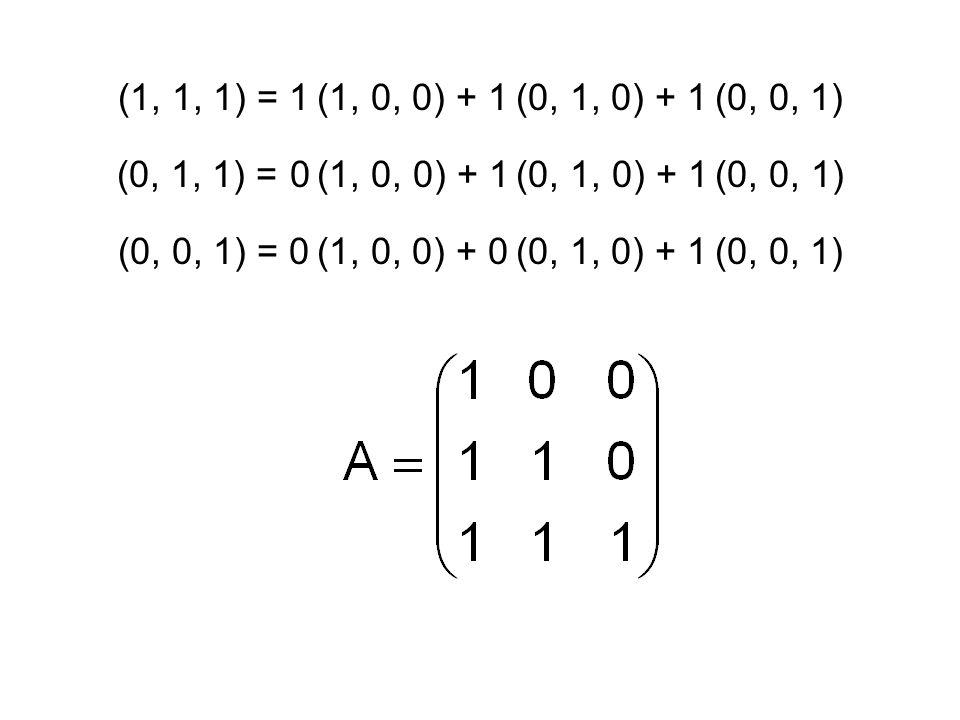 (1, 1, 1) = 1 (1, 0, 0) + 1 (0, 1, 0) + 1 (0, 0, 1) (0, 1, 1) = 0 (1, 0, 0) + 1 (0, 1, 0) + 1 (0, 0, 1)