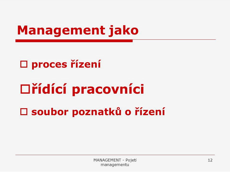 MANAGEMENT - Pojetí managementu
