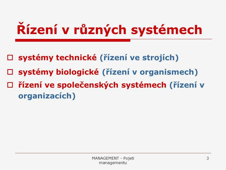 Řízení v různých systémech