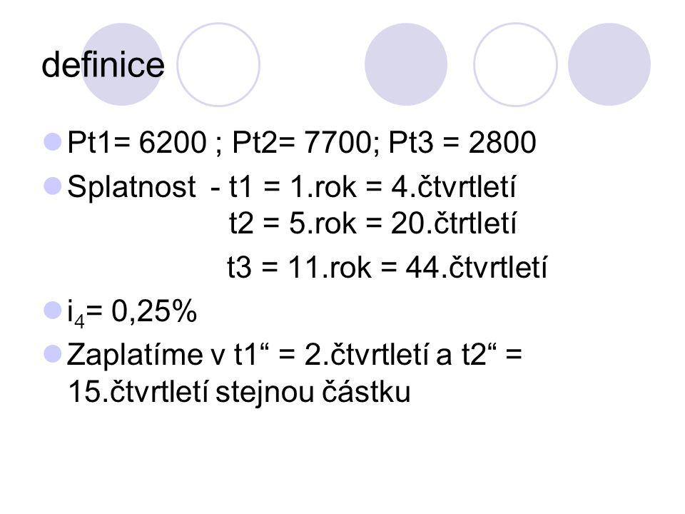 definice Pt1= 6200 ; Pt2= 7700; Pt3 = 2800. Splatnost - t1 = 1.rok = 4.čtvrtletí t2 = 5.rok = 20.čtrtletí.