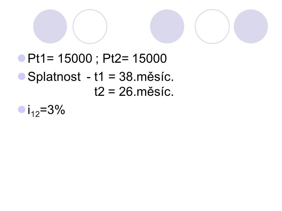 Pt1= 15000 ; Pt2= 15000 Splatnost - t1 = 38.měsíc.
