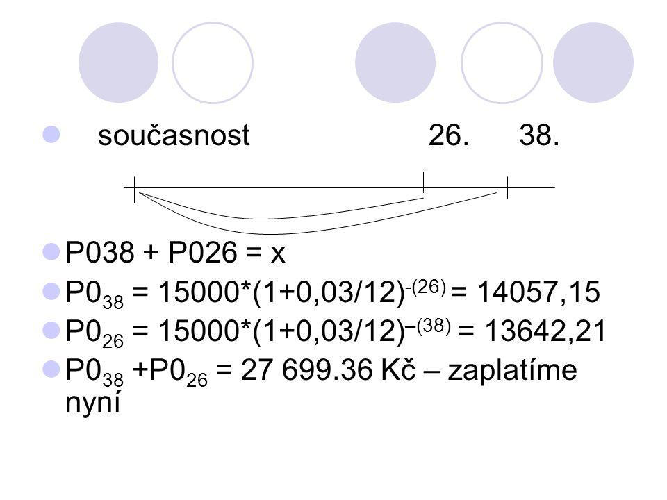 současnost 26. 38. P038 + P026 = x. P038 = 15000*(1+0,03/12)-(26) = 14057,15.