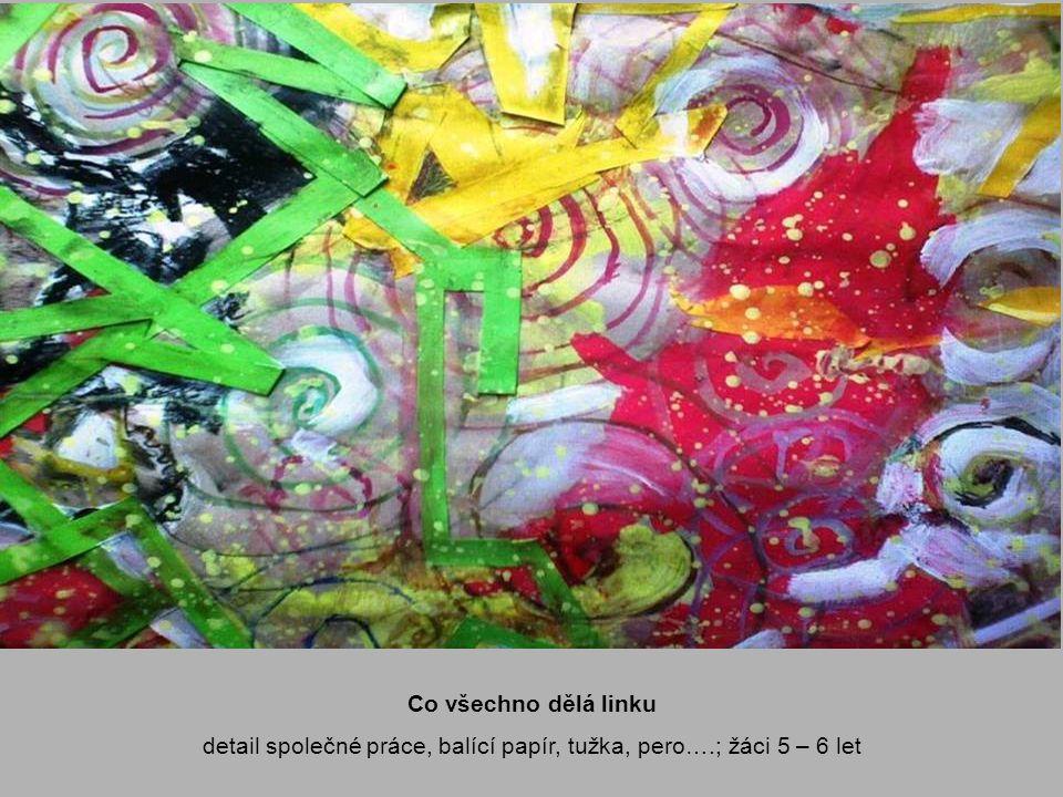 detail společné práce, balící papír, tužka, pero….; žáci 5 – 6 let