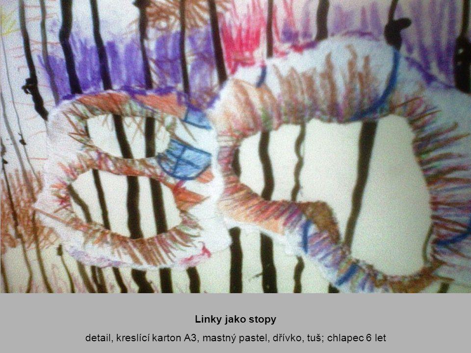detail, kreslící karton A3, mastný pastel, dřívko, tuš; chlapec 6 let