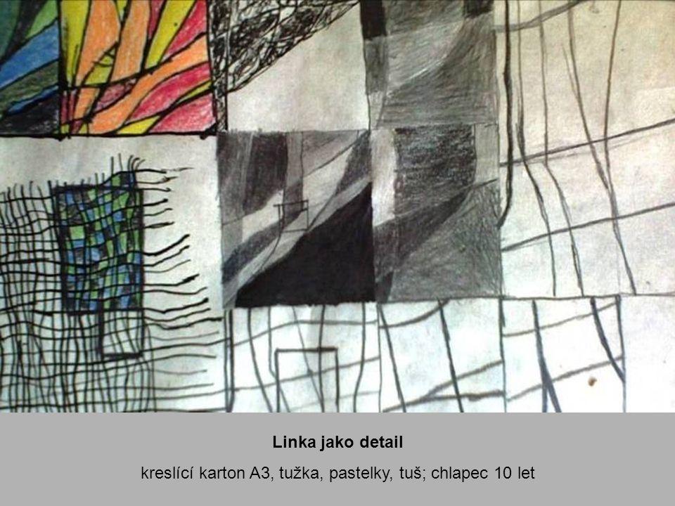 kreslící karton A3, tužka, pastelky, tuš; chlapec 10 let