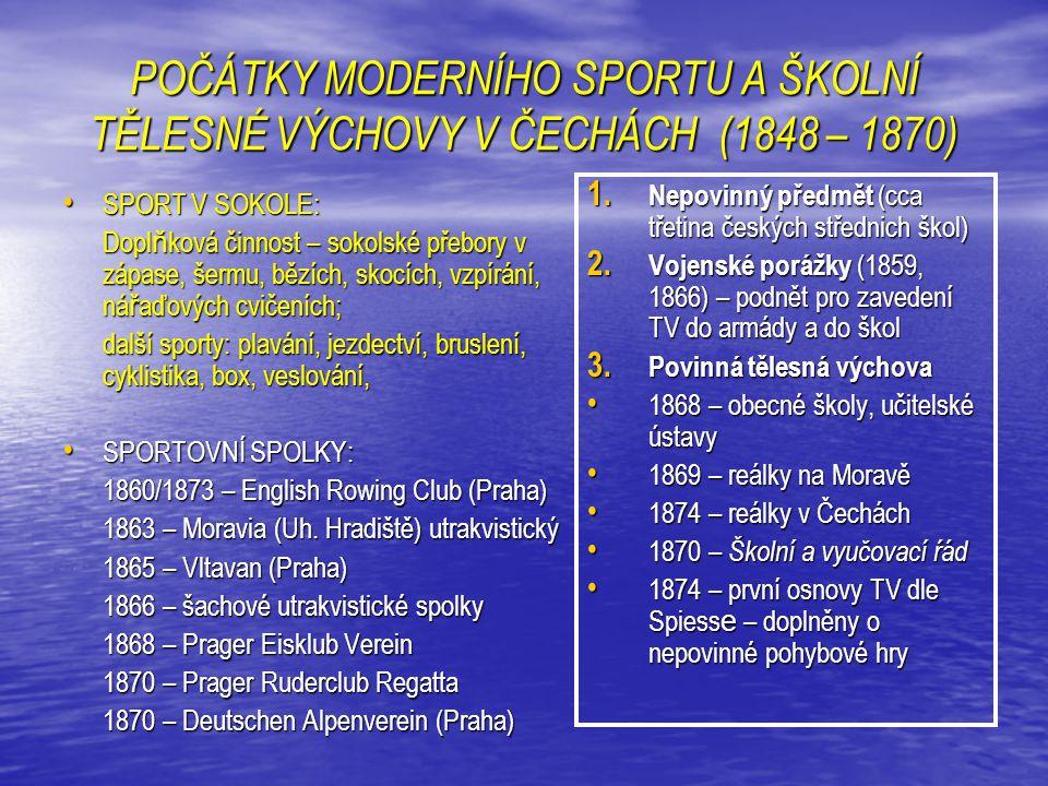 POČÁTKY MODERNÍHO SPORTU A ŠKOLNÍ TĚLESNÉ VÝCHOVY V ČECHÁCH (1848 – 1870)