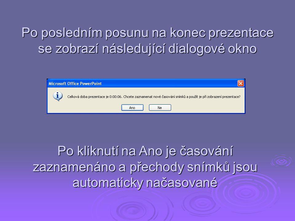 Po posledním posunu na konec prezentace se zobrazí následující dialogové okno