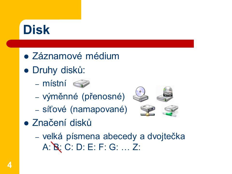 Disk Záznamové médium Druhy disků: Značení disků místní