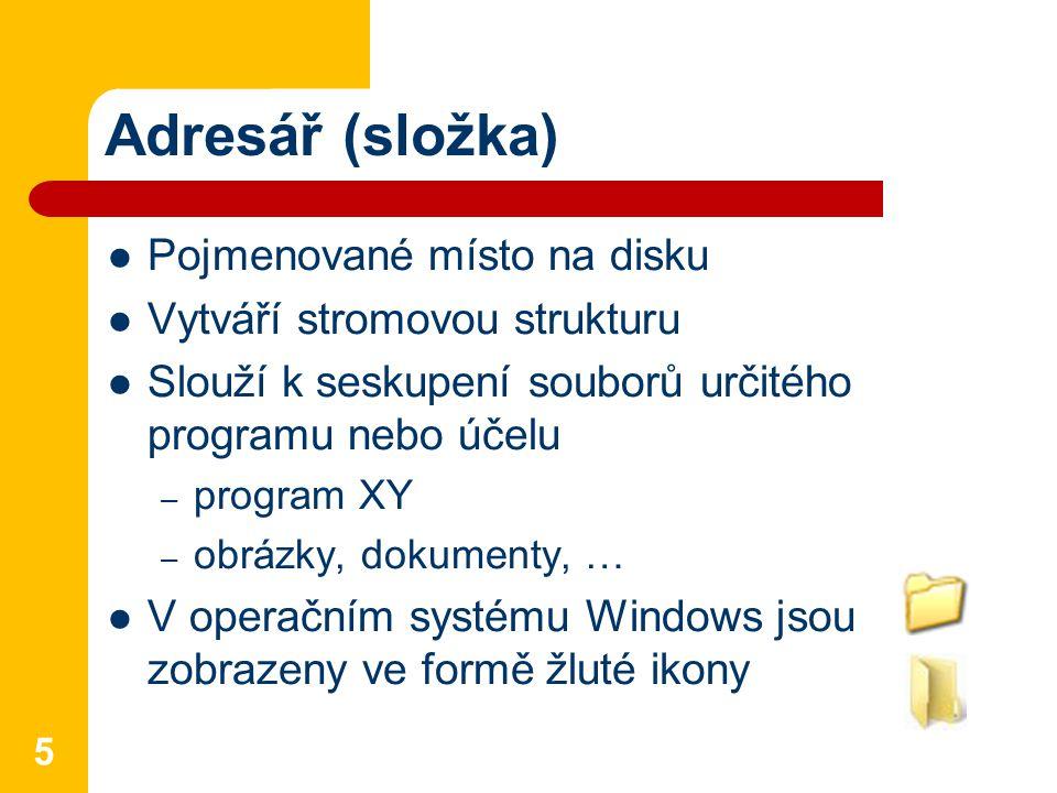 Adresář (složka) Pojmenované místo na disku