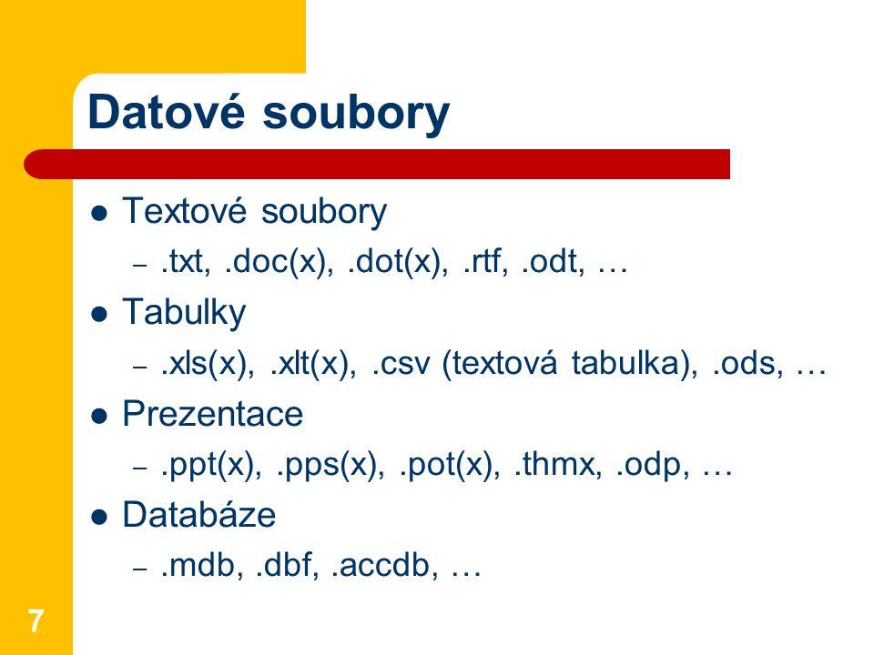 Datové soubory Textové soubory Tabulky Prezentace Databáze