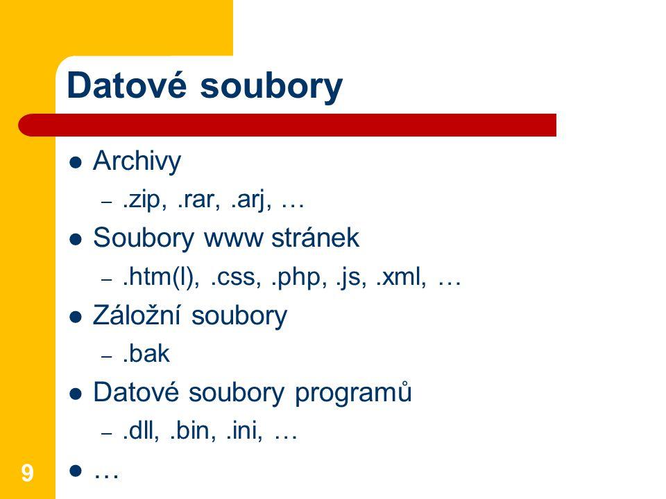 Datové soubory Archivy Soubory www stránek Záložní soubory